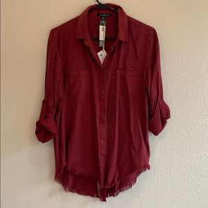 Velvet Heart deep red Riley relaxed button down